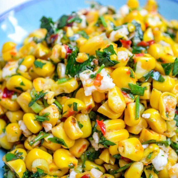 Corn with feta & harissa