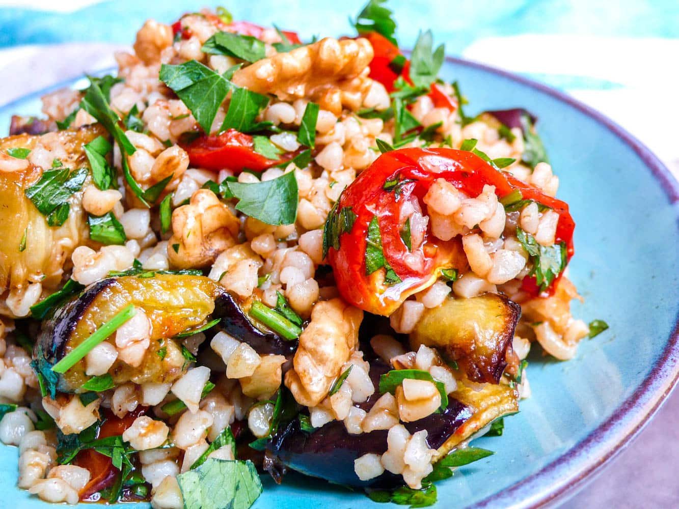 Bulgur salad with roast tomatoes, aubergine & walnuts / A kitchen in Istanbul