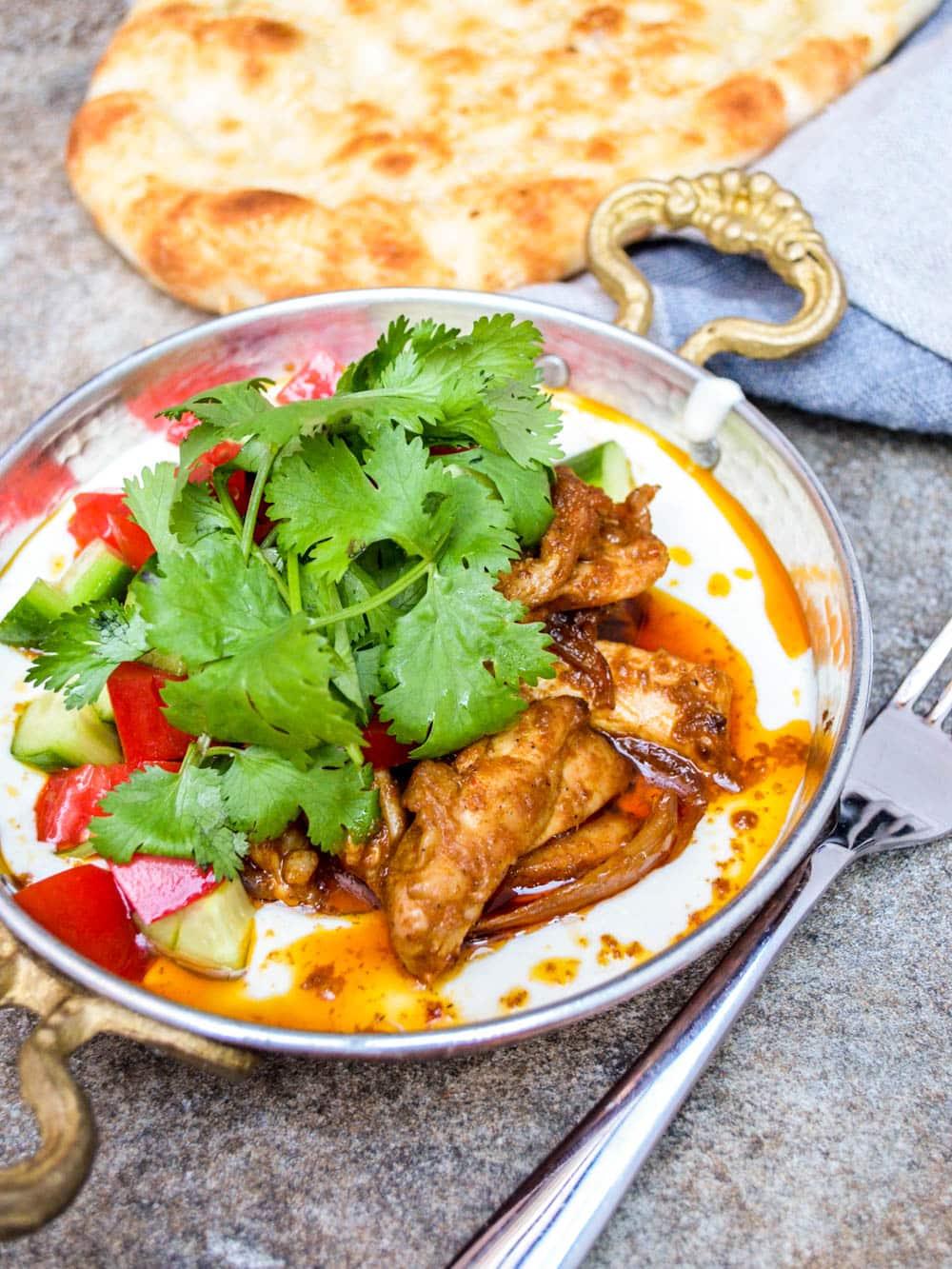 Chicken shawarma with tahini yoghurt - recipe / A kitchen in Istanbul