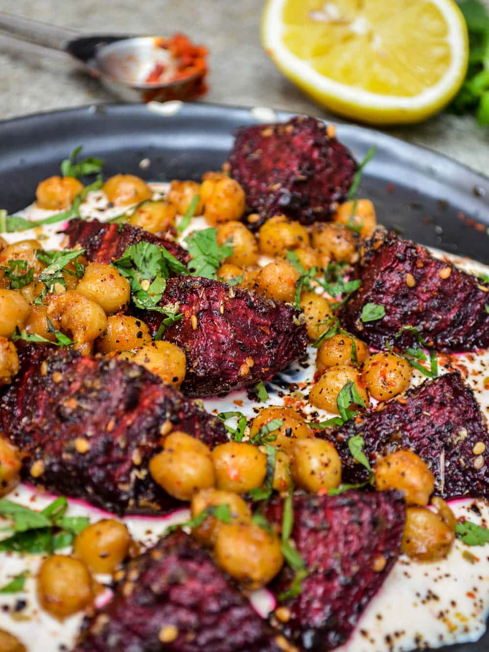 Spiced beetroot & chickpeas with harissa yoghurt