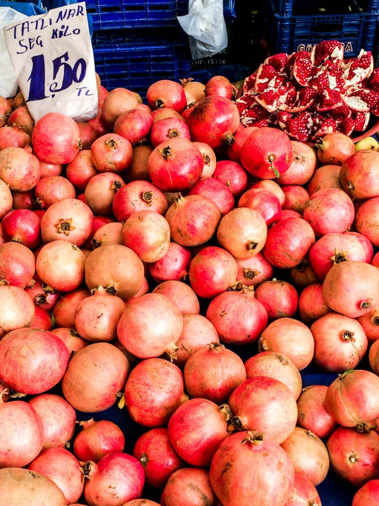 Pomegranates at the Balat market