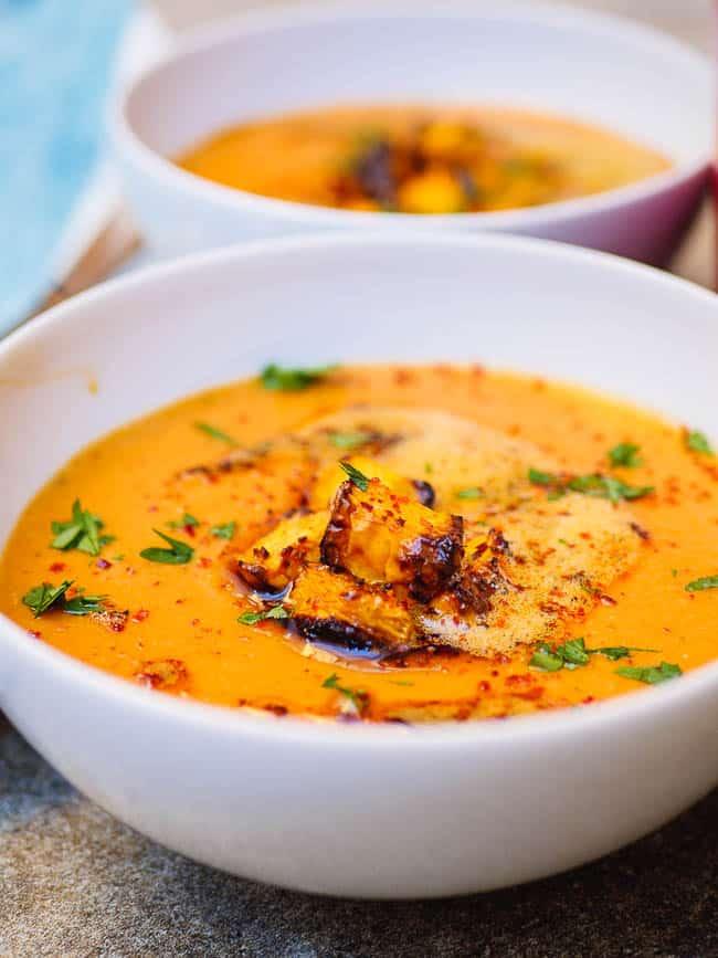 Lentil pumpkin soup seen up close from eye level