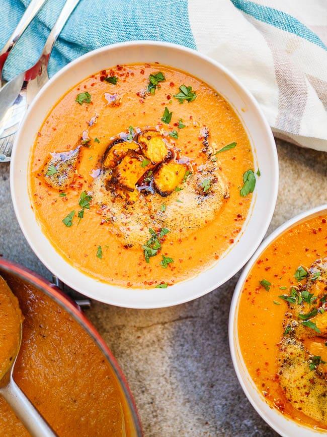 Lentil pumpkin soup seen from above