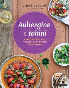 Aubergine & tahini - book front cover (Norwegian)