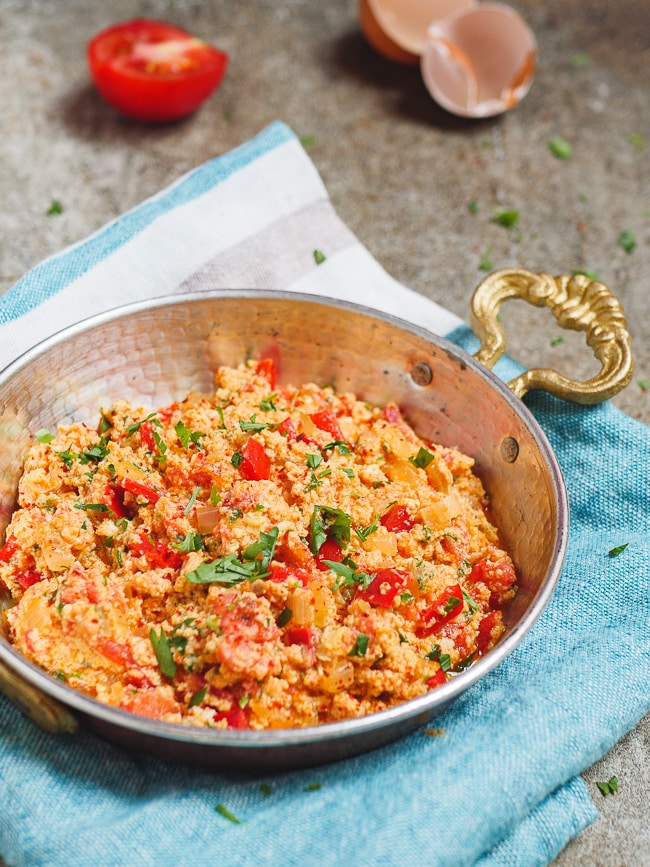Menemen in traditional Turkish copper pan
