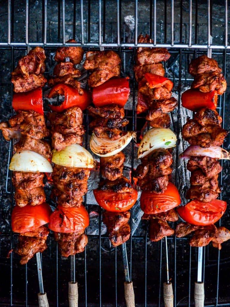 Turkish lamb shish kebab on the barbecue, top down