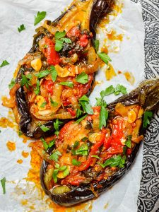 Turkish stuffed aubergines seen top down