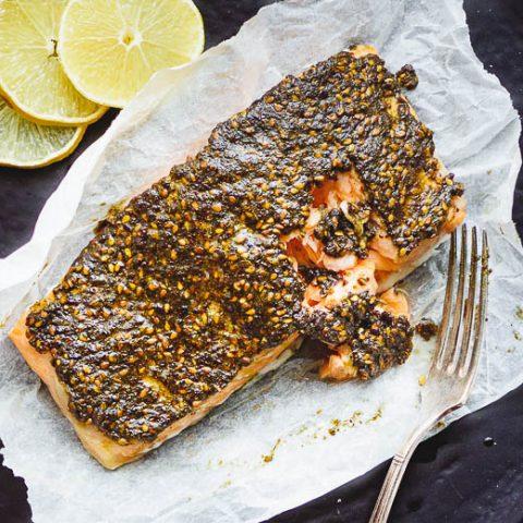 Za'atar crusted salmon seen top down