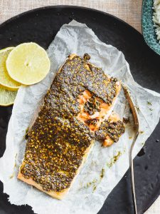 Za'atar crusted salmon seen top down