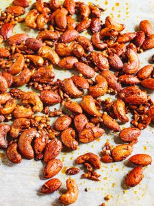 Middle Eastern spiced nuts on baking parchment