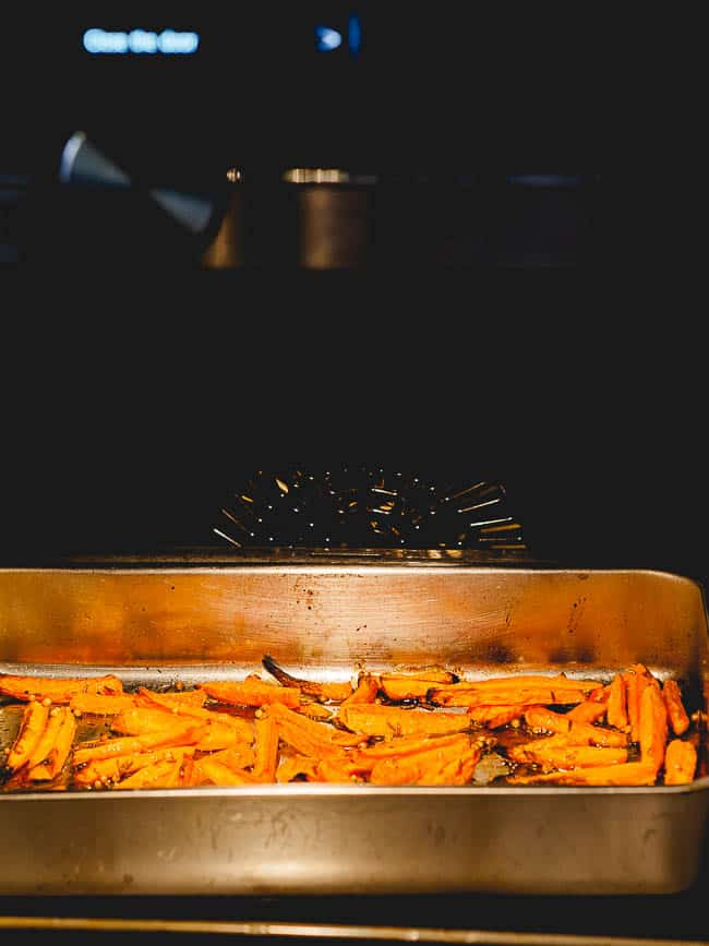 Carrots roasting in the oven