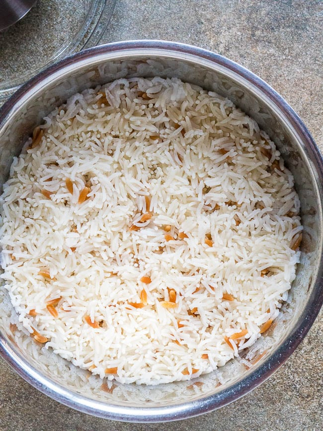 Cooked Turkish rice in a pot, seen from above