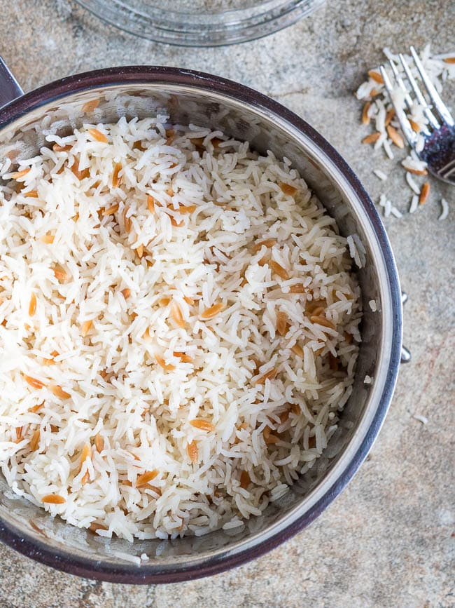 Fluffed up Turkish rice in a pot, seen from above