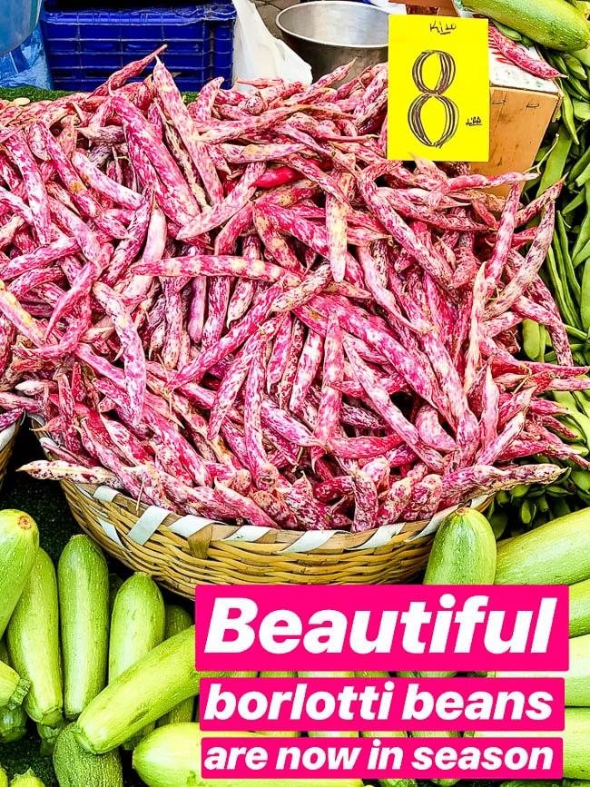 Borlotti beans in a basket at a Turkish market