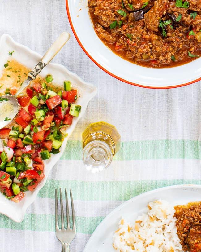 Closeup of coban salatasi as a side salad to Turkish moussaka